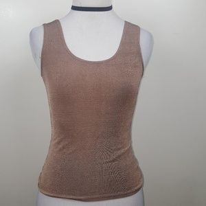 90's Stretchy Mocha Brown Metallic Shiney Tank top